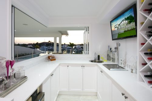 Bar area with mounted television